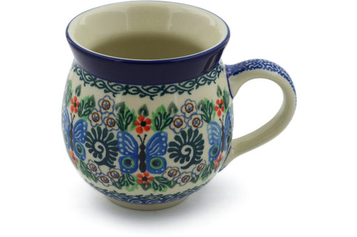 Polish Pottery Bubble Mug 12 oz Blue Butterfly Brigade Theme UNIKAT