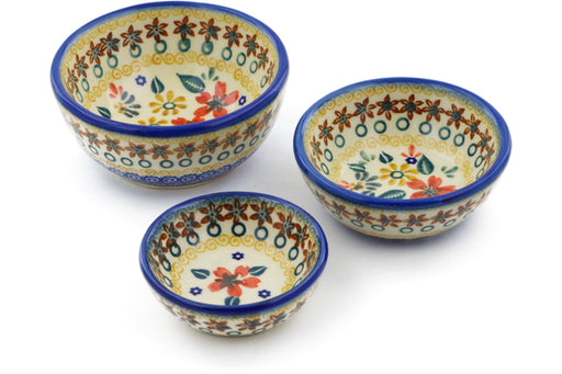 Polish Pottery bowls nesting set of 3 Red Anemone Meadow Theme