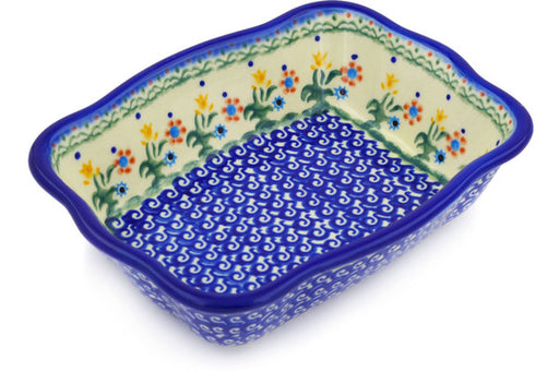 "Polish Pottery Rectangular Baker 8"" Spring Flowers Theme"