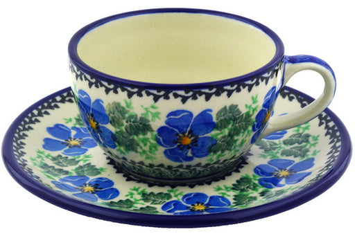 Polish Pottery Cup with Saucer 7 oz Scarlet Pimpernel Flower Theme