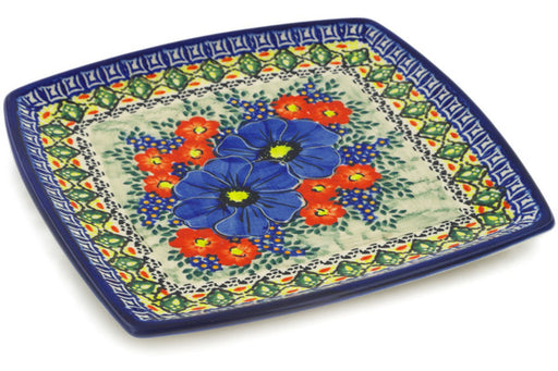 "Polish Pottery Square Plate 7"" Aztec Flowers Theme UNIKAT"