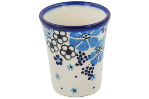 Polish Pottery Tumbler 5 oz Pansy Dawn Theme UNIKAT