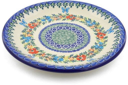 "Polish Pottery Plate 10"" Ring Of Flowers Theme UNIKAT"