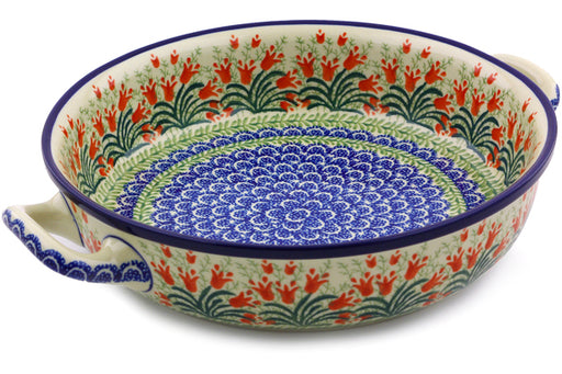 Polish Pottery Round Baker with Handles Medium Crimson Bells Theme