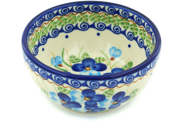 "Polish Pottery Bowl 5"" Blue Pansy Theme"