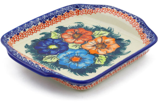 "Polish Pottery Tray with Handles 8"" Butterfly Splendor Theme UNIKAT"