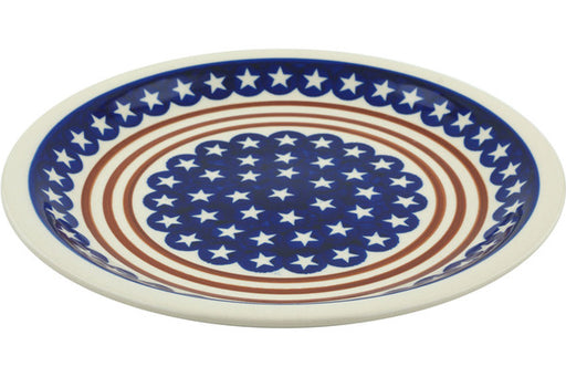 "Polish Pottery Plate 11"" Stars And Stripes Forever Theme"