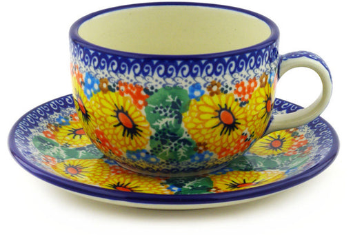 Polish Pottery Cup with Saucer 9 oz Enchanted Spring Theme UNIKAT