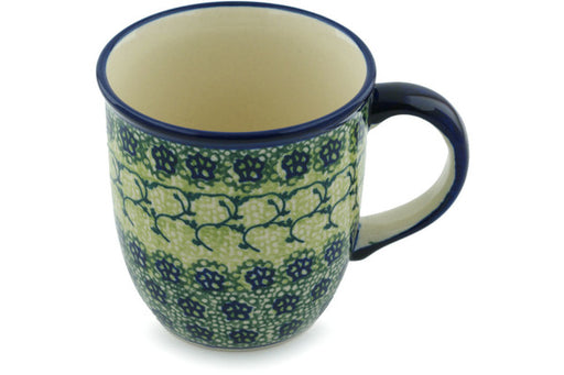 Polish Pottery Mug 12 oz Emerald Forest Theme