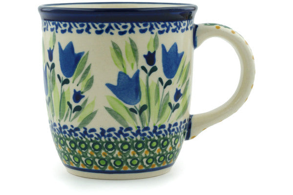 Polish Pottery Mug 12 oz Tulip Fields Theme UNIKAT