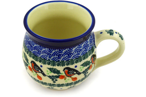 Polish Pottery Bubble Mug 12 oz Holly Robin Theme