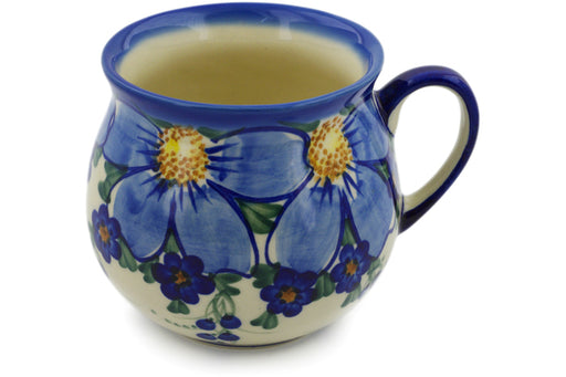 Polish Pottery Bubble Mug 22 oz Himalayan Blue Poppy Theme UNIKAT
