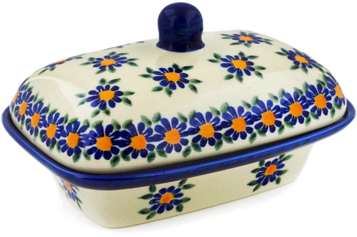 "Polish Pottery Butter Dish 7"" Blue Daisy Theme UNIKAT"