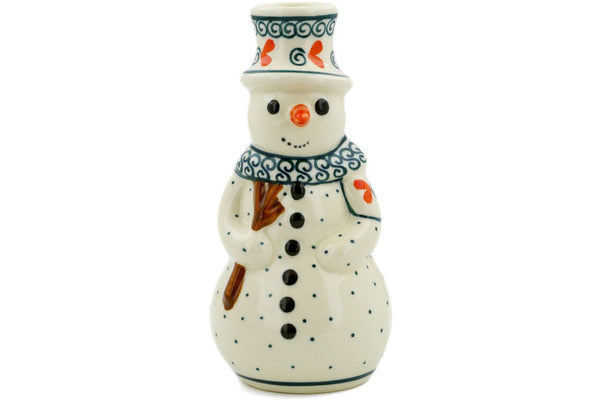 "Polish Pottery Snowman Candle Holder 6"" Swirled Heart Theme"