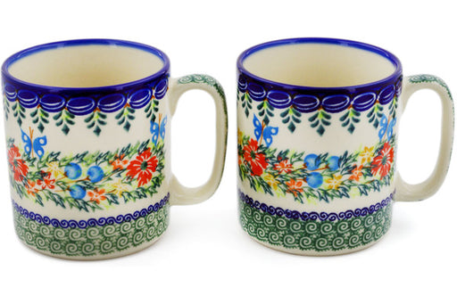 Polish Pottery mug set of 2 Ring Of Flowers Theme UNIKAT