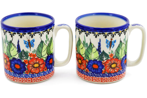 Polish Pottery mug set of 2 Spring Splendor Theme UNIKAT