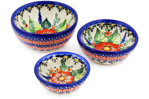 Polish Pottery bowls nesting set of 3 Spring Splendor Theme UNIKAT