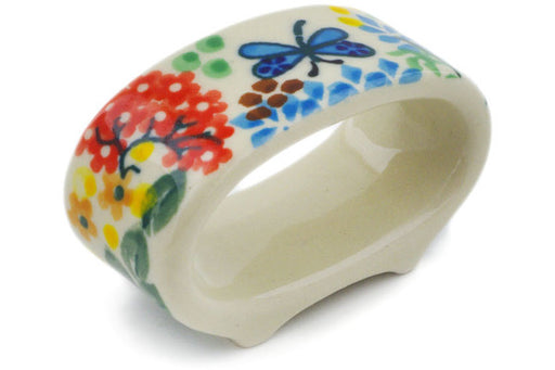 "Polish Pottery Napkin Ring 3"" Garden Delight Theme UNIKAT"