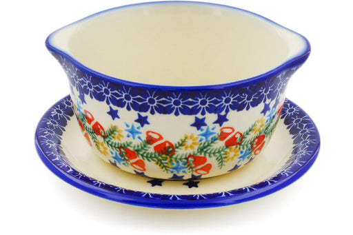 Polish Pottery bouillon cup w/saucer Wreath Of Bealls Theme