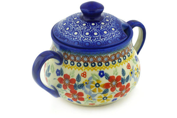 Polish Pottery Sugar Bowl 15 oz Summer Bouquet Theme UNIKAT