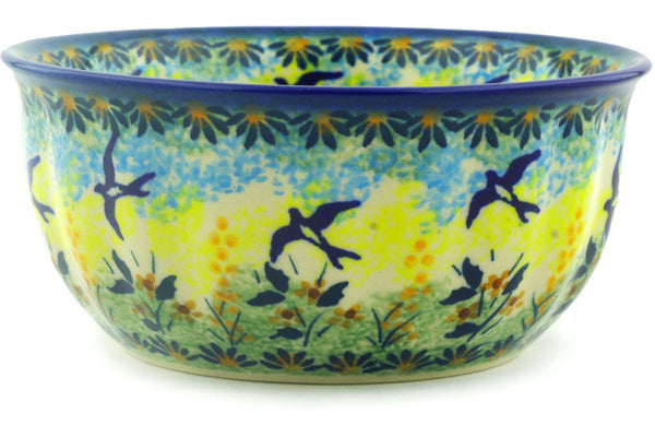 "Polish Pottery Bowl 6"" Birds In The Sunset Theme UNIKAT"