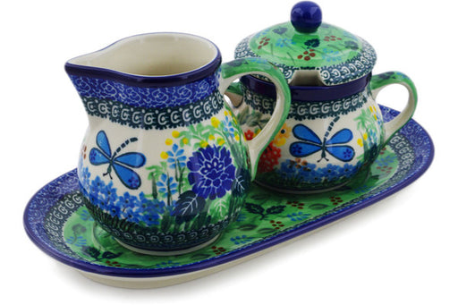 "Polish Pottery Sugar and Creamer Set 11"" Garden Delight Theme UNIKAT"
