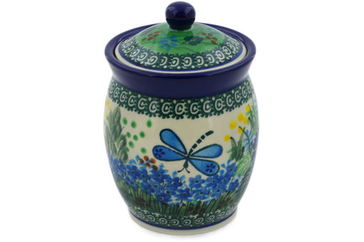 "Polish Pottery Jar with Lid 5"" Garden Delight Theme UNIKAT"