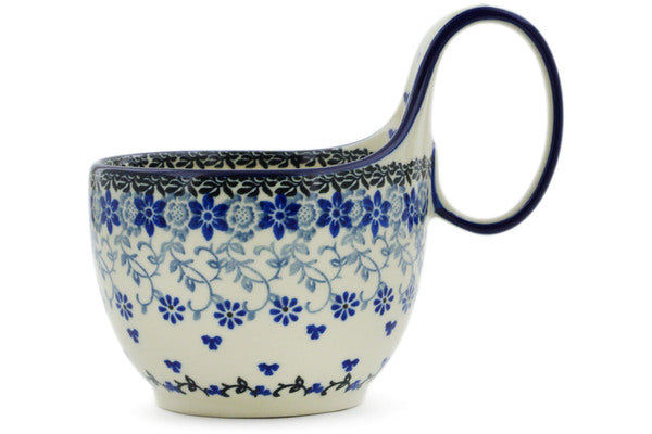 Polish Pottery Bowl with Loop Handle 16 oz First Snow Theme