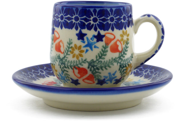 Polish Pottery espresso cup w/saucer Wreath Of Bealls Theme