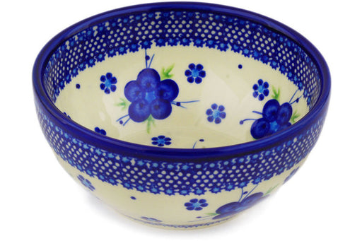 "Polish Pottery Bowl 6"" Bleu-belle Fleur Theme"