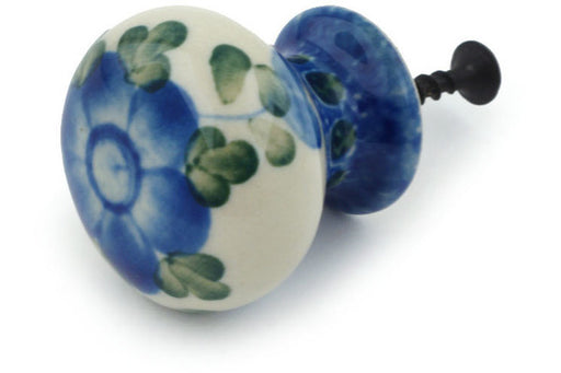"Polish Pottery Drawer Pull Knob 1"" Blue Poppies Theme"