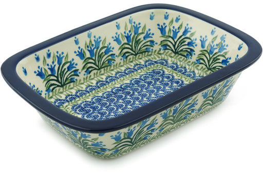 "Polish Pottery Rectangular Baker 10"" Feathery Bluebells Theme"