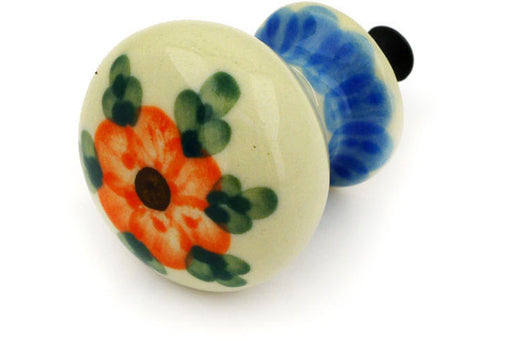 "Polish Pottery Drawer Pull Knob 1"" Cherry Blossoms Theme"