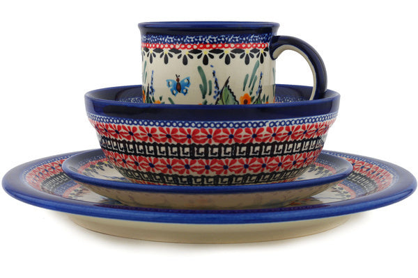 Polish Pottery 4-Piece Place Setting WAWEL Spring Splendor Theme UNIKAT
