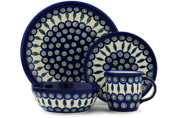 Polish Pottery 4-Piece Place Setting WAWEL Peacock Leaves Theme