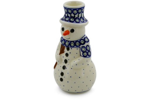 "Polish Pottery Snowman Candle Holder 6"" Peacock Leaves Theme"