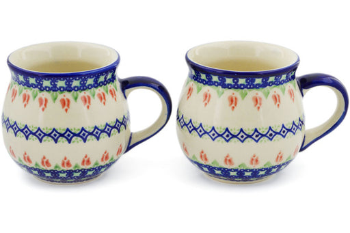 Polish Pottery mug set of 2 Tulips And Diamonds Theme