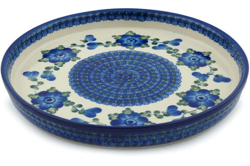 "Polish Pottery Cookie Platter 10"" Blue Poppies Theme"