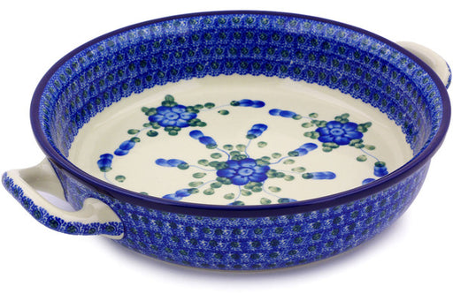 Polish Pottery Round Baker with Handles Medium Blue Poppies Theme