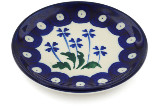 Polish Pottery Mini Plate Blue Clover Peacock Theme