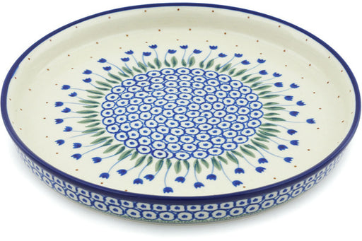 "Polish Pottery Cookie Platter 10"" Water Tulip Theme"