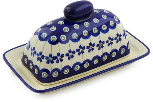 "Polish Pottery Butter Dish 7"" Flowering Peacock Theme"