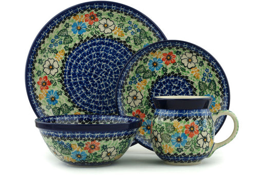 Polish Pottery 4-Piece Place Setting Glorious Concept Theme UNIKAT