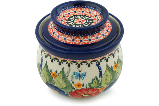 "Polish Pottery Butter Dish 4"" Spring Splendor Theme UNIKAT"