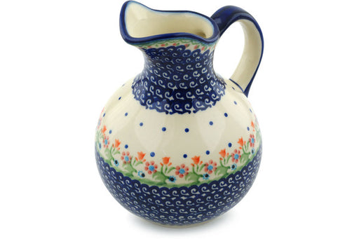 Polish Pottery Pitcher 5 Cup Spring Flowers Theme