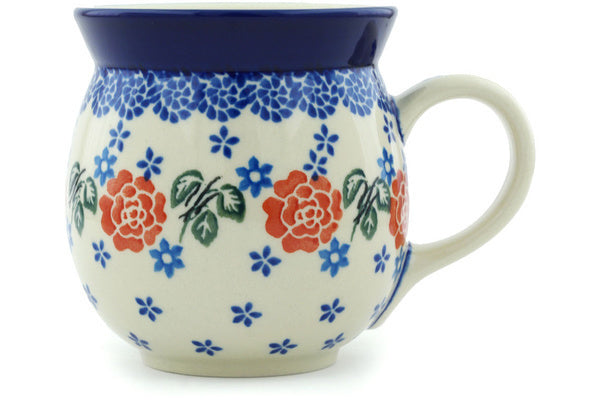Polish Pottery Bubble Mug 16 oz Rose Burst Theme