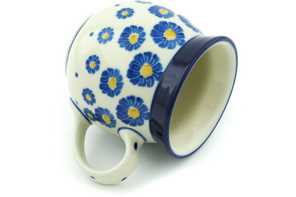 Polish Pottery Bubble Mug 8 oz Wreath Of Blue Theme