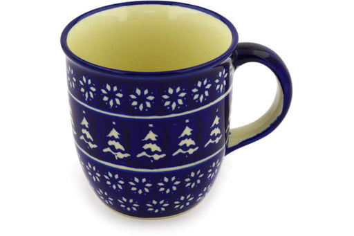 Polish Pottery Mug 12 oz Winter Night Theme