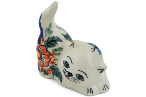 "Polish Pottery Cat Figurine 3"" Spring Splendor Theme UNIKAT"