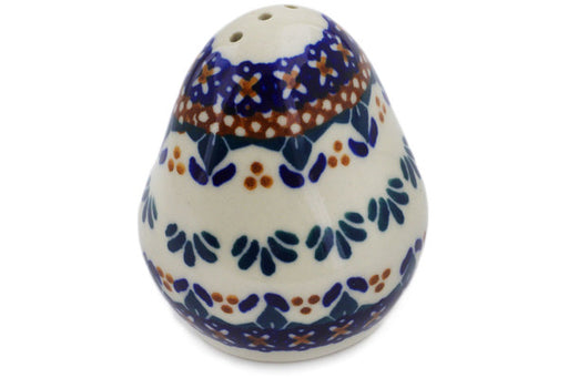 "Polish Pottery Pepper Shaker 3"" Blue Cress Theme"